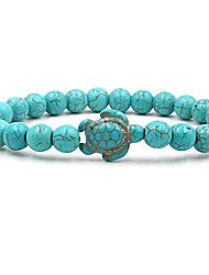 cheap -turquoise tortoise volcanic stone white turquoise variety of natural stone men and women elastic bracelet