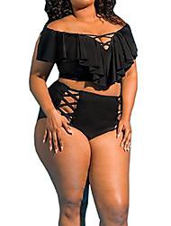 cheap -Women's Bikini 2 Piece Swimsuit Hollow Out High Waist Solid Color figure 1 figure 2 image 3 Figure 4 Figure 5 Plus Size Swimwear Bathing Suits New Casual / Padded Bras / Beach