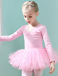 cheap -Ballet Dress Bowknot Lace Printing Girls' Training Performance Long Sleeve High Cotton Blend Mesh