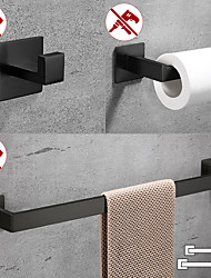 cheap -Bathroom Accessory Set / Toilet Paper Holder / Robe Hook New Design / Self-adhesive / Creative Contemporary / Modern Stainless Steel / Low-carbon Steel / Metal 5pcs / 4pcs / 2pcs - Bathroom Wall