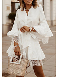cheap -Women's Sheath Dress Short Mini Dress Blue Khaki White Long Sleeve Solid Color Lace Fall Summer Shirt Collar Casual 2021 S M L XL XXL 3XL