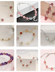 cheap -pearl bracelet colorful strawberry crystal bracelet female natural moonstone transfer beads bracelet