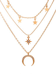 cheap -five-pointed star pendant retro simple eight-pointed star crescent three-layer necklace