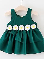 cheap -Toddler Little Girls' Dress Daisy Floral Tutu Dresses Print Red Yellow Green Knee-length Sleeveless Basic Tutus & Skirts Dresses Summer Regular Fit 1-4 Years