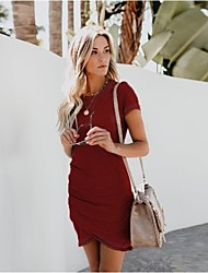 cheap -amazon hot sale summer 12 colors 6 yards sexy round neck bag hip irregular short sleeve women's dress