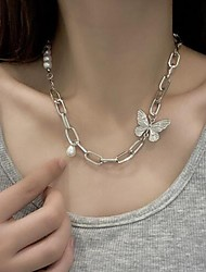 cheap -Women's Necklace Patchwork Butterfly Fashion Imitation Pearl Alloy Silver 42 cm Necklace Jewelry 1pc For Birthday Party Festival