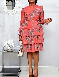 cheap -Women's Plus Size Dress A Line Dress Knee Length Dress Long Sleeve Print Ruffle Print Boho Spring & Summer / vacation dresses