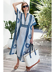 cheap -amazon cross-border european and american new loose beach coveralls positioning printing robe outer coverall sun protection shirt beach skirt