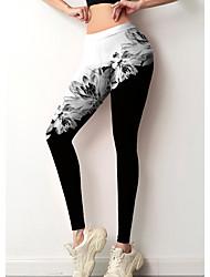 cheap -Women's Colorful Fashion Comfort Leisure Sports Weekend Leggings Pants Floral Color Block Ankle-Length Sporty Elastic Waist Print Black / White