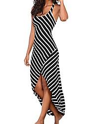 cheap -hgwxx7 women casual stripe plus size asymmetrical hem sundress beach long dress (s, black)