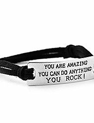"""cheap -luvalti """"you are amazing you can do anything you rock"""" pendant leather bracelet - motivational jewelry gift"""