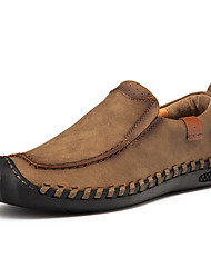 cheap -Men's Loafers & Slip-Ons Crochet Leather Shoes Comfort Loafers Business Casual Daily Outdoor Walking Shoes Trail Running Shoes Nappa Leather Cowhide Breathable Handmade Non-slipping Booties / Ankle