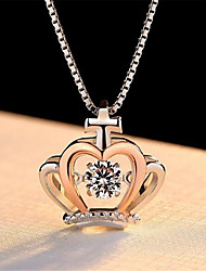 cheap -Pendant Necklace Charm Necklace Women's Geometrical Zircon Rose Gold Plated Cross Crown Fashion Lovely Wedding Rose Gold 45 cm Necklace Jewelry 1pc for Christmas Wedding Gift Daily Work Geometric