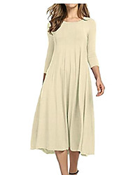 cheap -gocgt women 3/4 sleeve a-line and flare midi long dress beige xl