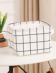 cheap -Small pure and fresh desktop canvas sundry basket storage basket creative hand frame receiving box cloth art receiving basket waterproof finishing basket