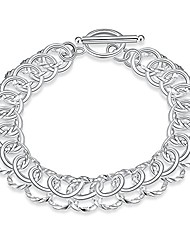 """cheap -nabtyjc sterling silver 2 layers twisted link chain bracelet with diamond cut and hight polish loops,toggle button 8""""(21cm)"""