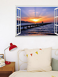 cheap -3D Fake Window New wall Paste Seaside Sunset Hand-Painted Artist Living Corridor Background Decoration Can Be Removed Stickers