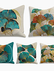 cheap -Double Side Cushion Cover 5PC Linen Soft Decorative Square Throw Pillow Cover Cushion Case Pillowcase for Sofa Bedroom  Superior Quality Machine Washable Print Ginkgo Biloba