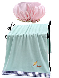cheap -Bathroom Shower Bath 70*140CM Pure Cotton Bath Towel A Double-layer Waterproof Satin Cloth  EVA Material Shower Cap (Pink)