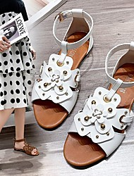 cheap -Women's Sandals Flat Heel Pointed Toe PU Beading Solid Colored White Brown