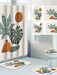 cheap -Digital Printing Four-piece Waterproof Shower Curtain and Hook Foot Mat Four-piece Home Decoration