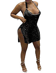 cheap -women sexy shinny squins ripped hole sparkle glitter halter neck sleeveless split side open back backless mini dress black s
