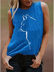 cheap -Women's Tank Top Vest T shirt Cat Print Round Neck Basic Tops Cotton Black Blue Purple