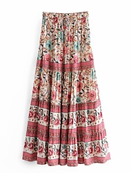 cheap -Women's Vacation Casual / Daily Streetwear Boho Skirts Floral Graphic Print Purple Beige