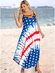 cheap -2021 new style european and american printed suspender dress, amazon american flag european and american plus size printed dress