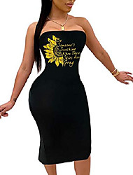 cheap -women sexy strapless floral dress - tube midi letter print summer dress bodycon party clubwear black m