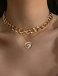 cheap -coin necklace circle retro multilayer necklace fashion portrait thick chain necklace jewelry