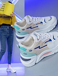 cheap -Women's Trainers Athletic Shoes Wedge Heel Round Toe PU Lace-up Camouflage White Blue Pink