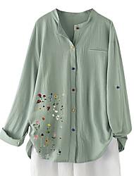 cheap -Women's Plus Size Tops Blouse Shirt Graphic Button Long Sleeve Round Neck Hot Spring Summer Blue Green Big Size L XL 2XL 3XL 4XL / Cotton / Cotton