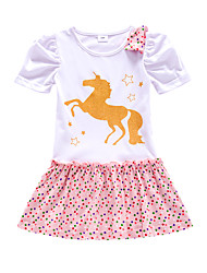 cheap -Kids Little Girls' Dress Unicorn Cartoon Polka Dot Animal Sheath Dress Birthday Causal Sparkle Print White Blushing Pink Gray Knee-length Short Sleeve Regular Princess Cute Dresses Children's Day