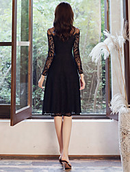 cheap -black long-sleeved evening dress 2020 autumn and winter new banquet lace dress can usually wear annual party dress women