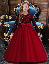 cheap -Ball Gown Floor Length Event / Party / Formal Evening Flower Girl Dresses - Satin / Polyester Long Sleeve Jewel Neck with Sash / Ribbon / Splicing / Paillette