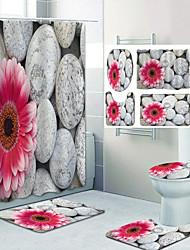 cheap -Red Flowers On Pebbles Pattern Printing Bathroom Shower Curtain Leisure Toilet Four-Piece Design