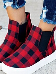 cheap -Women's Flats Flat Heel Round Toe Canvas Check Black / Red