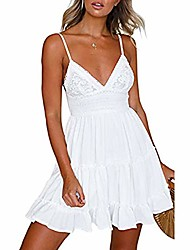 cheap -womens v-neck spaghetti strap bowknot backless sleeveless lace mini swing skater dress (white, s)