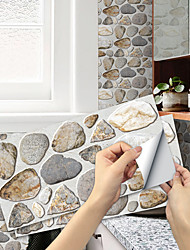 cheap -Imitation Stone Tile Kitchen Bathroom Self-adhesive Paper Waterproof And Oil-proof Yellow Brown Rough Stone Flake Self-adhesive Decorative Wall Sticker