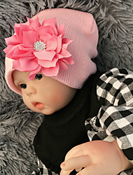 cheap -Kids Baby Girls' New Lotus Leaf Rhinestone Flower Baby Wool Knitted Hat Pure Color Wild Autumn And Winter Warm Ear Protection Baby Hat Wholesale