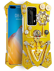 cheap -Luxury Armor Metal Aluminum Pure Copper Phone Case For HUAWEI P40 Pro HUAWEI P40 Pro+ Mechanical Gear Purely Handmade Skull Phone Shell Back Cover For Honor 30 Honor Play4