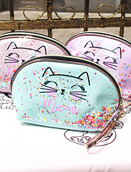 cheap -Cosmetic Bag Glitter Sequin Semicircle Bag Portable Cosmetic Bag Cat Storage Bag  Makeup Bag Makeup Bag