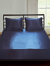 cheap -Bed Sheet Set Fitted Sheet Set solid color Silk like Satin Duvet Cover set, smooth and light weight and breathable and fade resistant King /Queen /Twin /Double/Single/superKing size