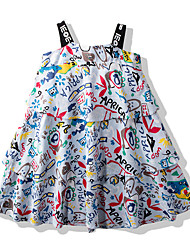 cheap -Kids Little Girls' Dress Cartoon Causal Holiday Print Blue Beige Knee-length Sleeveless Active Dresses Children's Day Summer Loose 2-6 Years