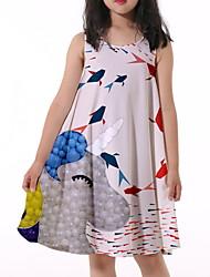 cheap -Kids Little Girls' Dress Unicorn Graphic Print White Knee-length Sleeveless Flower Active Dresses Summer Regular Fit 5-12 Years