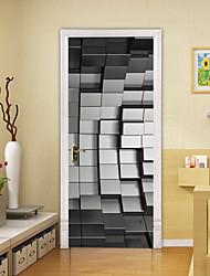 "cheap -3D 2pcs Self-adhesive Creative Door Stickers Living Room Bedroom Diy Decorative Home Waterproof Wall Stickers 77x200cm 30.3""x78.7""(77x200cm), 2 PCS Set"