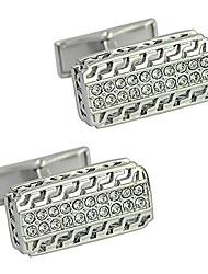 cheap -silver engraved openwork pattern cufflink strip whale back cufflink europe rhinestone cufflinks