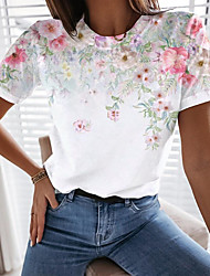 cheap -Women's Floral Theme T shirt Floral Graphic Print Round Neck Tops Basic Basic Top White