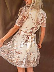 cheap -european and american cross-border amazon hot models 2021 summer mesh gauze waist short-sleeved v-neck belt sequined big dress women